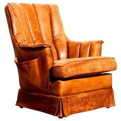 1940s, Sheep Leather Club Lounge Armchair, France