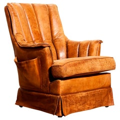 1940s, Sheep Leather Club Lounge Arm Chair, France