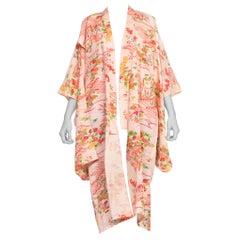1960S Baby Pink & Red Silk Sheer Lightweight Japanese Kimono