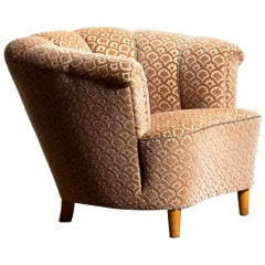 1940s,  Velvet Jacquard ShellBack Club Lounge Cocktail Chair from Sweden