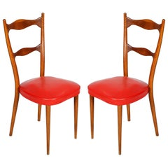 1940s Side Chairs Melchiorre Bega Attributed with Spring Seat, Leather, Original