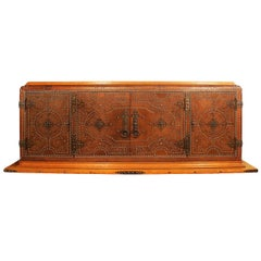 1940s Sideboard by Francisque Chaleyssin, Oakwood, Basane Leather, France