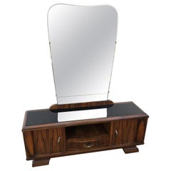 1940s Sideboard Rosewood Walnut Honeycomb Natural Color Italian Design Mirror