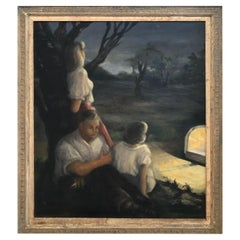 Very Large 1940's Signed Genre Painting