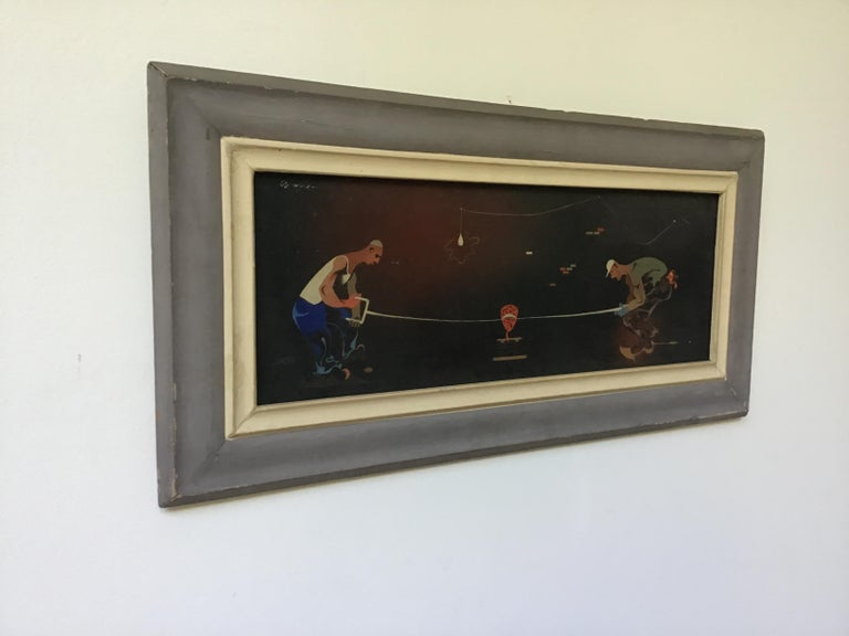 1940s oil on canvas of 2 workers sawing. Signed.