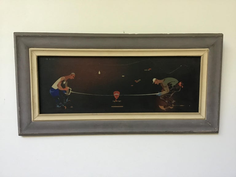 1940s Signed Oil Painting of 2 Workers Sawing In Good Condition For Sale In Tarrytown, NY