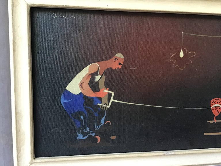 Mid-20th Century 1940s Signed Oil Painting of 2 Workers Sawing For Sale