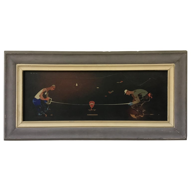 1940s Signed Oil Painting of 2 Workers Sawing For Sale