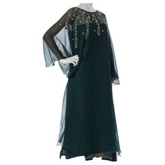 1940S Silk Beaded Embellished Rose Appliqué Green Chiffon Sheer Long Sleeve Gown