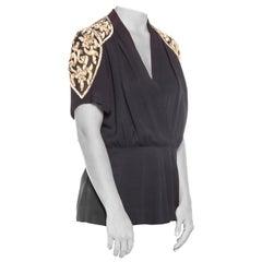 1940S Silk Crepe Evening Top With Sheer Sequined Shoulders