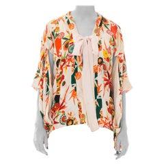 1940s Silk Floral Print Kimono Sleeve Robe with Bow