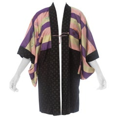 1940S Silk Japanese Kimono With Shadow Butterfly Ikat Lining