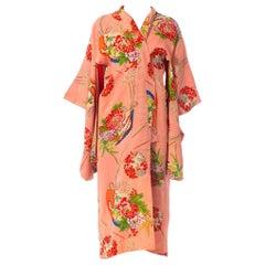 1940S Peach Floral Silk Jaquard Japanese Fan Print Kimono