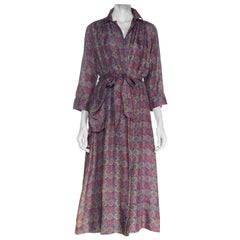 1940S Blue Purple & Green Watercolor Foulard Printed Silk Robe With Pockets