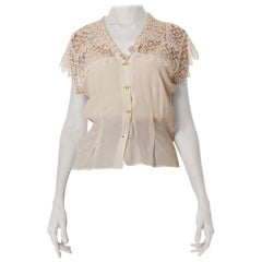 1940S  Off White Rayon & Lace As-Is Blouse1940S  Off White Rayon & Lace As-Is Bl
