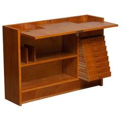 1940s Slim Oak Work Bench / Writing Desk with Open Folding Writing Working Top