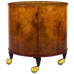 1940s Small Dry-Bar on Wheels, Elm, Burr Elm, Mirrors, Brass, Italy