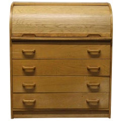 1940s Small Roll or Barrel Top Dresser with Four Drawers, Pigeon Holes