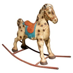 1940s Spanish Children's Metal Toy Rocking Horse