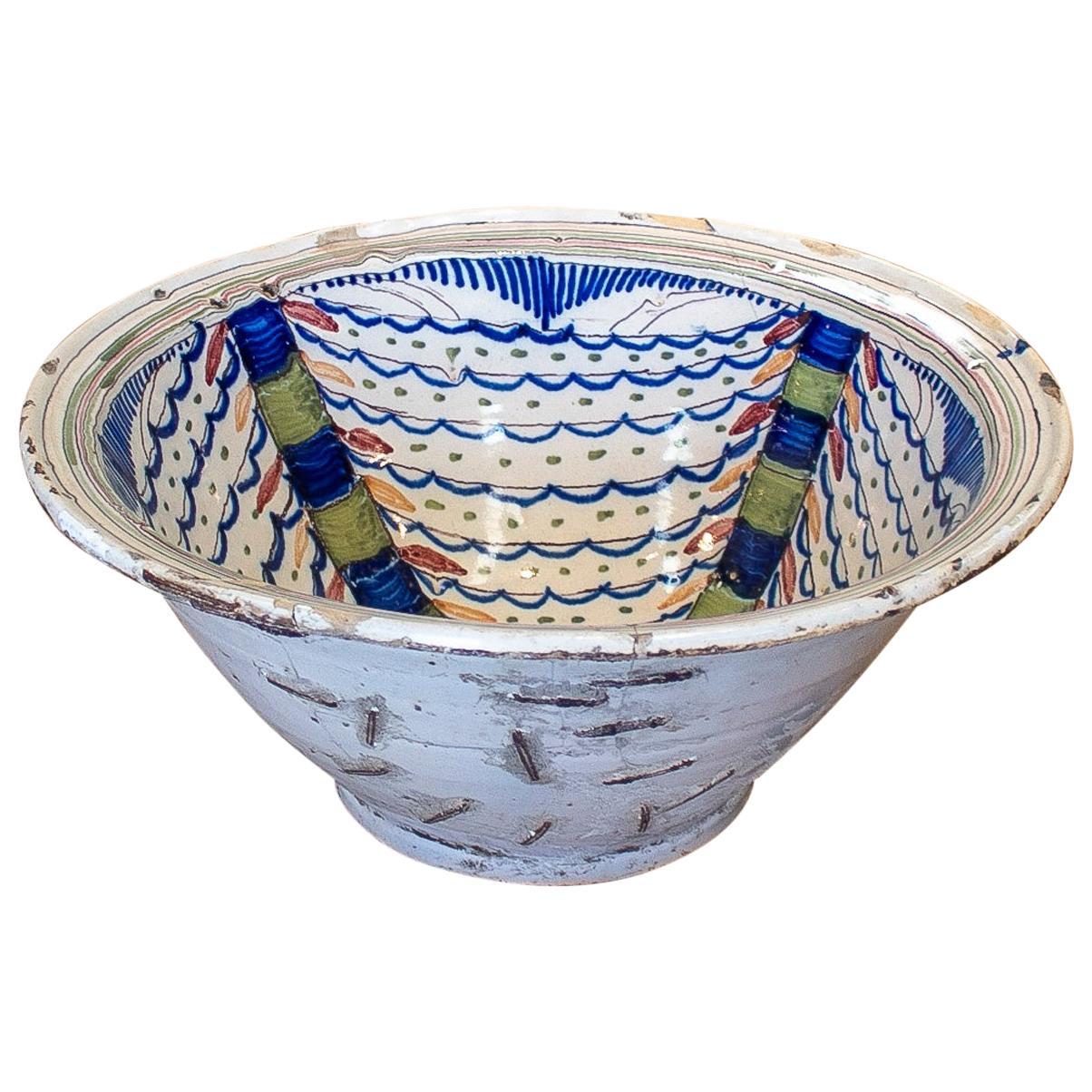 "1940s Spanish Restored Painted Glazed Terracotta Ceramic ""Lebrillo"" Bowl"