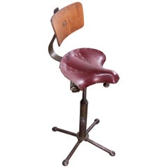 1940s Sprung Saddle Swivelling Industrial Chair