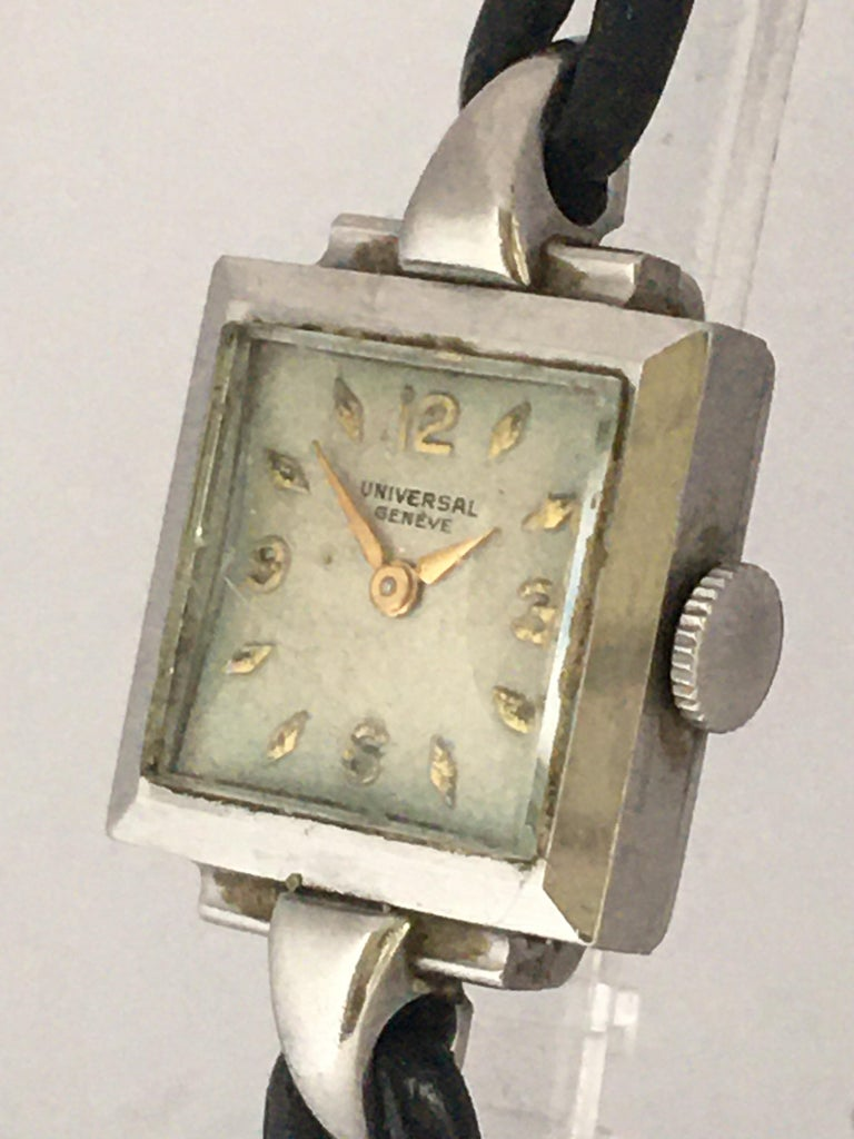 1940s Stainless Steel Mechanical Ladies Universal Geneve Watch For Sale 13