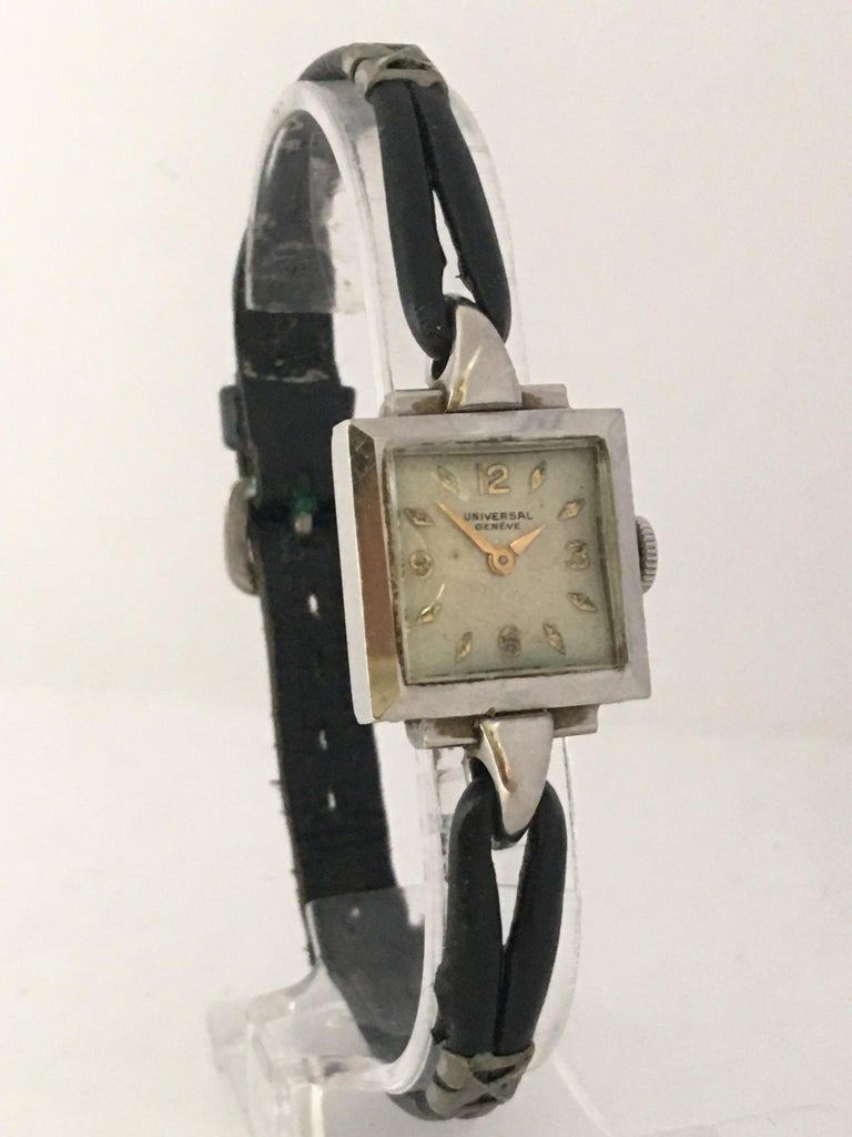 This beautiful vintage hand winding and excellent quality movement ladies watch is working and it is running well. Visible signs of wear and ageing with light scratches on the glass and on the watch case as shown. Some deterioration on the silvered
