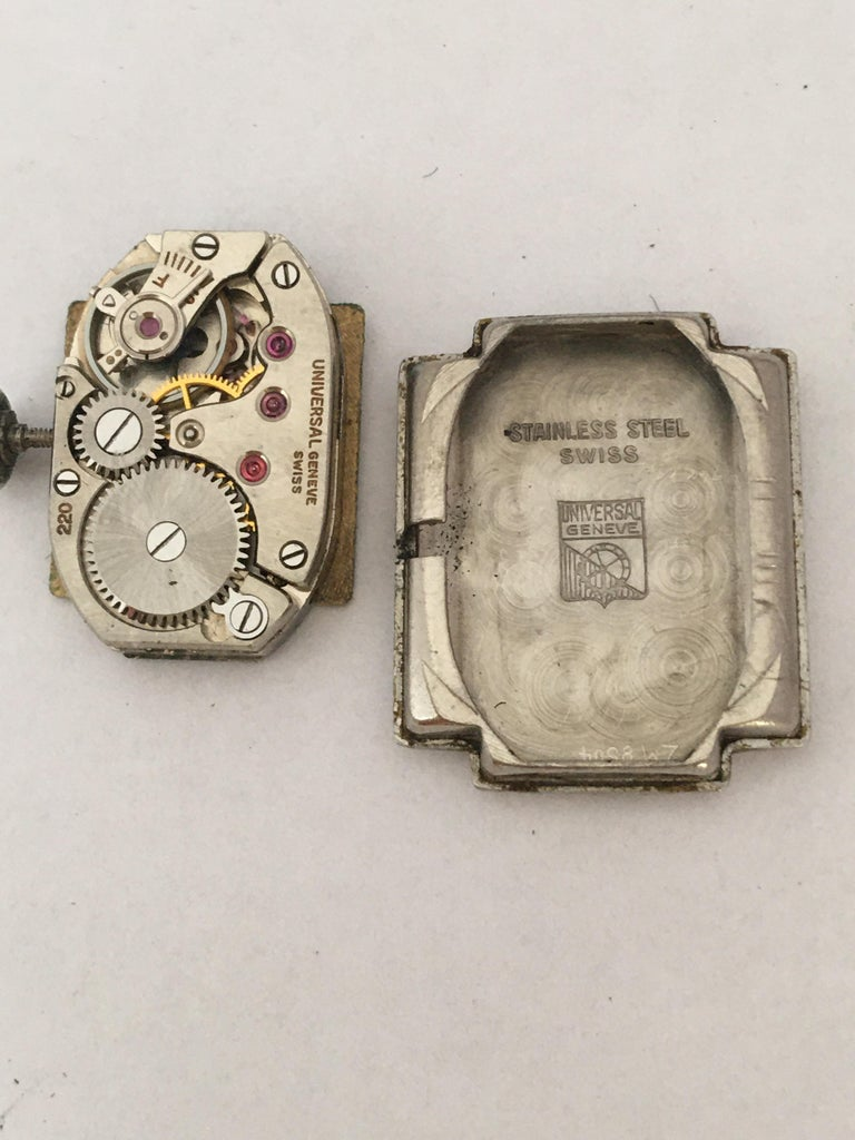 1940s Stainless Steel Mechanical Ladies Universal Geneve Watch For Sale 5