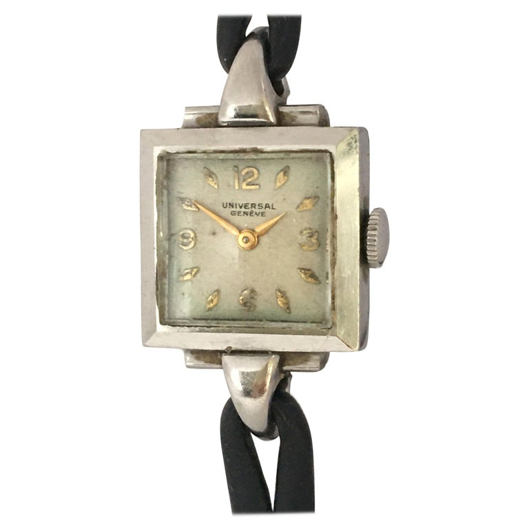 1940s Stainless Steel Mechanical Ladies Universal Geneve Watch For Sale