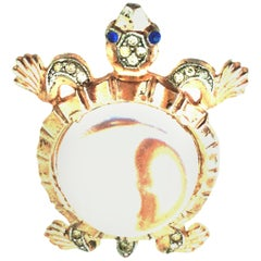 1940'S Sterling Vermeil, Lucite & Crystal Jelly Belly Turtle Brooch By, Trifari