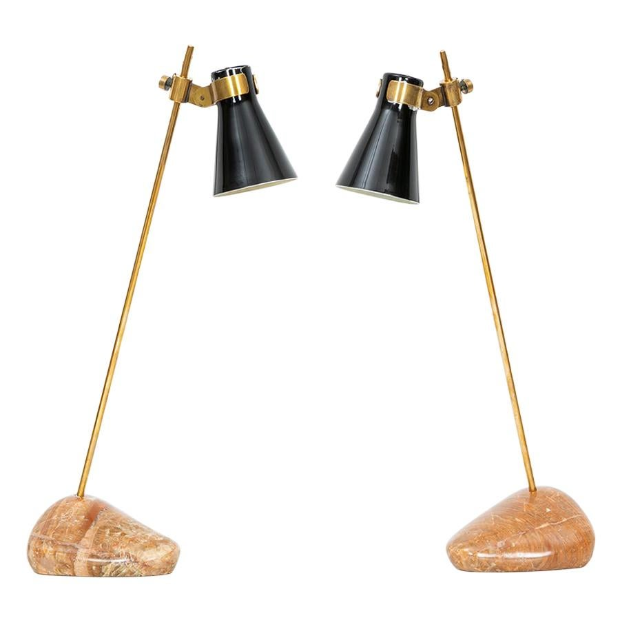 1940s Stone, Emaille and Brass Pair of Table Lamps by Luigi Caccia Dominioni