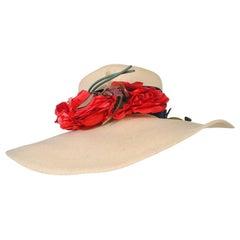 1940s Straw Hat w/Red Flowers