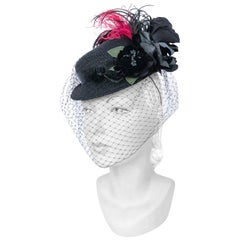 1940s Straw Toy Hat with Multi-colored Feathers, and Full Veil