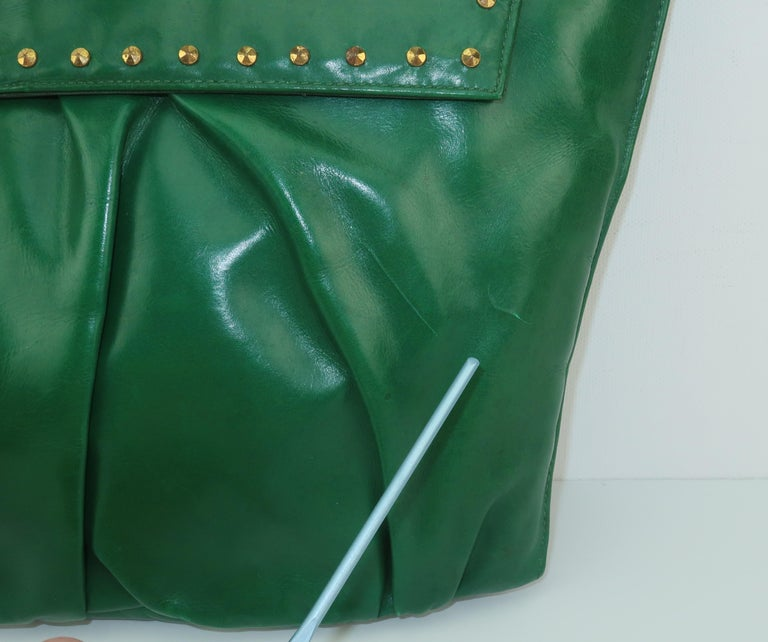 1940's Studded Emerald Green Leather Clutch Handbag For Sale 6