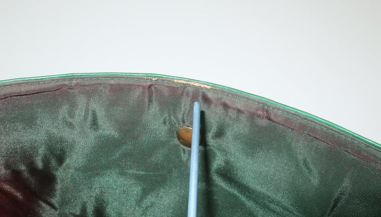 1940's Studded Emerald Green Leather Clutch Handbag For Sale 9