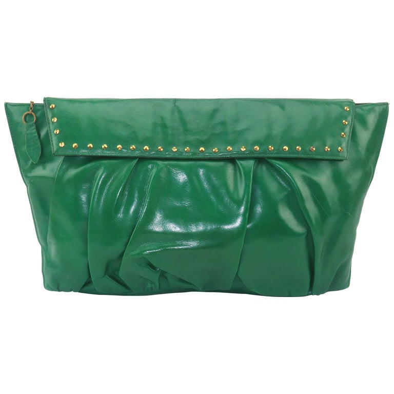 1940's Studded Emerald Green Leather Clutch Handbag For Sale