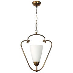 1940s Swedish Brass and Frosted Glass Lantern