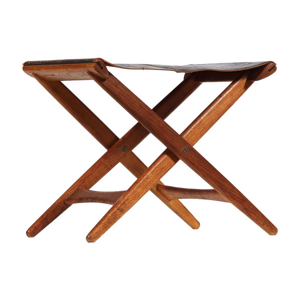 1940s Swedish Fumed Oak Folding Stool by Osten Kristiansson for Luxus
