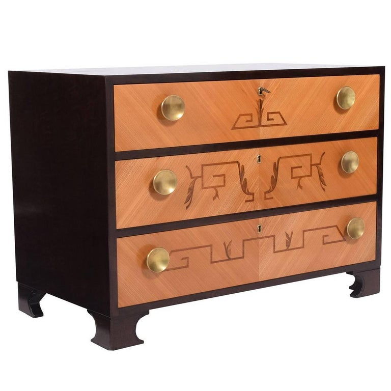 1940s Swedish Intarsia Chest of Drawers For Sale