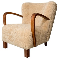 1940s Swedish Lounge Chair in Shearling