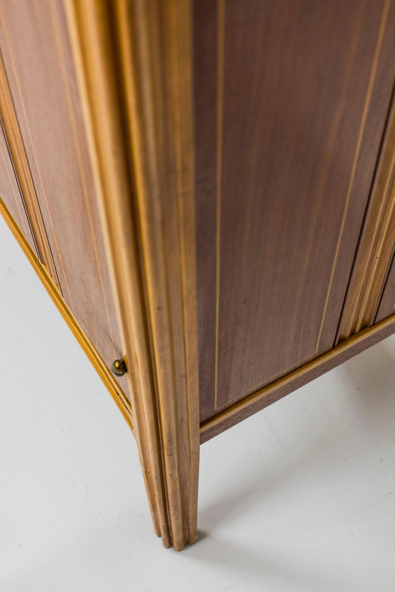 Beech 1940s Swedish Modern Cabinet with Marquetry For Sale