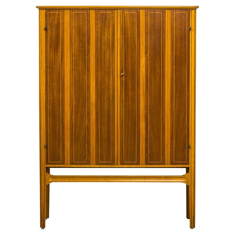 1940s Swedish Modern Cabinet with Marquetry For Sale