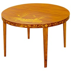 1940s Swedish Modern Coffee Table with Dragonfly Inlay