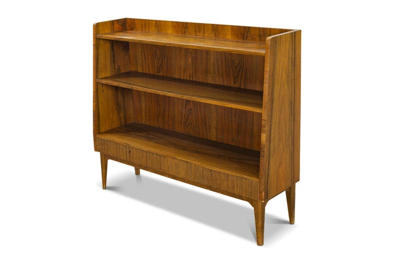Mid-Century Modern 1940s Swedish Modern Narrow Bookcase in Rosewood For Sale