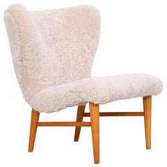 1940s Swedish Sheepskin Easy Chair