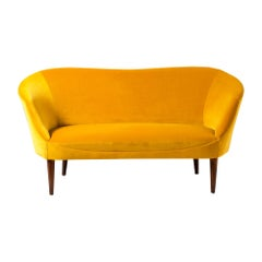 1940s Swedish Velvet Loveseat Sofa
