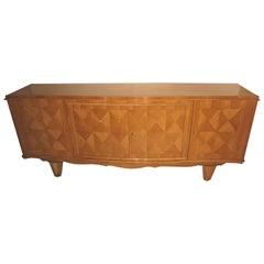 1940s Sycamore Credenza in Parquetry Inlay, Attributed to Andre Arbus