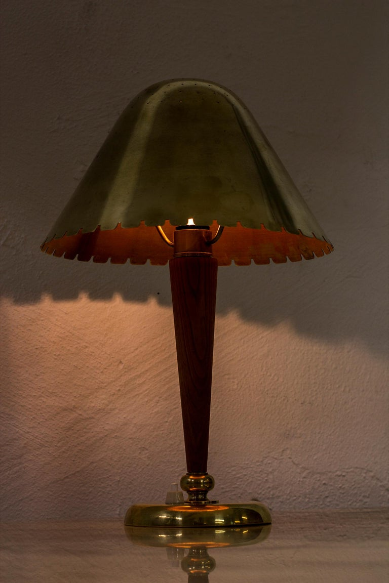 Brass 1940s Table Lamp Attributed to Harald Elof Notini and Böhlmarks, Sweden For Sale