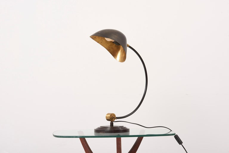 1940s Table Lamp in Metal and Brass For Sale 9
