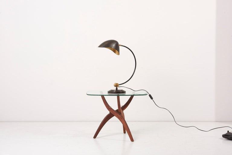 1940s table lamp in metal and brass. 1x E27 bulb.   Please note: Lamp should be fitted professionally in accordance to local requirements.